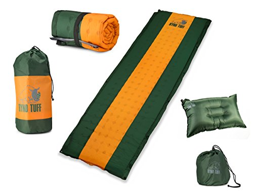- Ryno Tuff Sleeping Pad Set, Self-Inflating Camping Mattress and Bonus Traveling Pillow Included, The Mat Is Large, Wide and Insulated Yet Compact When Folded, A Must For Camping, Hiking or Backpacking