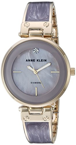 Anne Klein Women's AK/2512LVGB Diamond-Accented Gold-Tone and Light Lavender Marbleized Bangle Watch