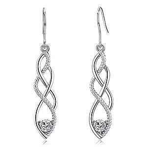 Celtic Knot Drop Earrings,Sterling Silver Dangle Earring for Women Girls,Fashion Hypoallergenic Earring with Zircon Good…