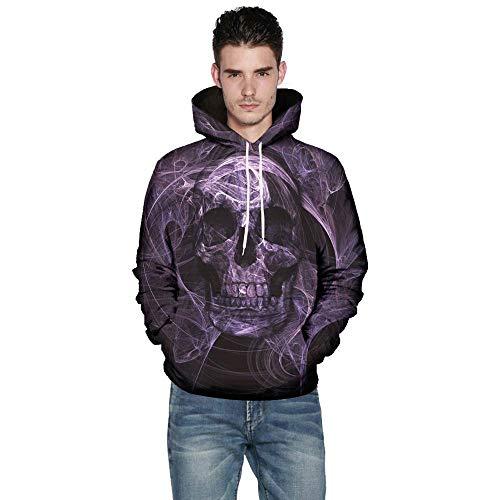Hauts Violet Hiver Avec Capuche Taille Chemisier Pull Sweats Manches De Sweat 3d Hommes Colorful Lonshell Impression Longues Poche Crâne Plus À Automne RTpfR1q
