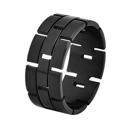 Geoffrey Women Beene Clothing (Geoffrey Beene Men's Comfort Fit Brick Pattern Open Link Stainless Steel Ring Wedding Band, Gunmetal Grey)