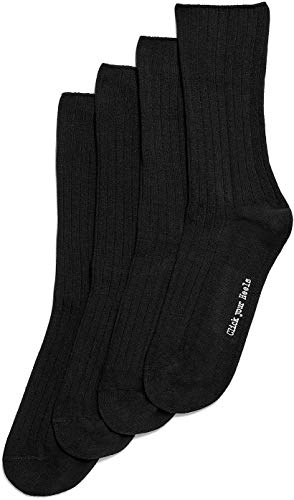 HUE Women's Rib Dress Socks 4 Pk, Black, One Size (Dress Classic Sock Rib)