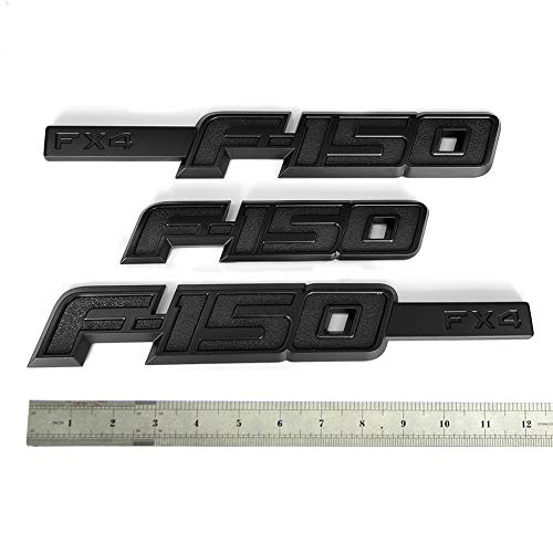 3pcs OEM F-150 Fx4 Emblem Side Fender F-150 Badge Rear Tailgate 3D Nameplate Replacement for F150 Origianl Size Genuine Parts Black