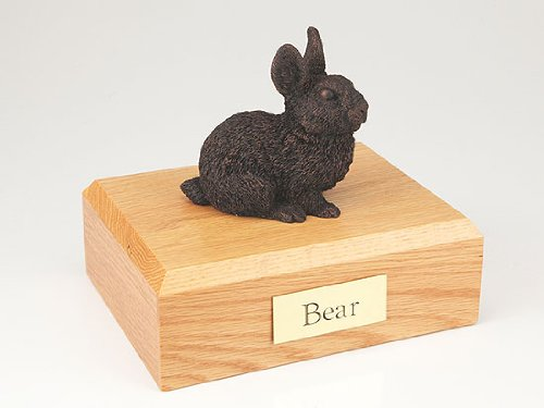 GENUINE North American Hardwood and Bronze Bunny Rabbit Figurine Pet Cremation Urn Small by Ever My Pet