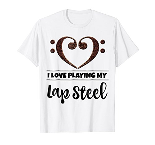 Double Bass Clef Heart I Love Playing My Lap Steel T-Shirt