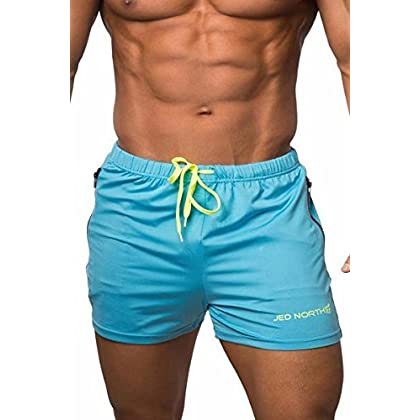 38fa441addf Men's Fitted Shorts Bodybuilding Workout Gym Running Tight Lifting Shorts  Pants, Large, Aqua blue