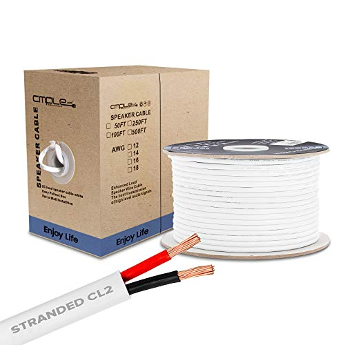 Cmple – 50FT 14AWG Speaker Wire Cable with 2 Conductor Speaker Cable (CCA) Copper Clad Aluminum CL2 Rated In-Wall Speaker Wire for Home Theater & Car Audio – 50 Feet, White