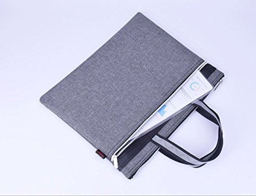 JM-capricorns Multi-functional Zippered B4 Document Bags with Handle--Meeting/Business Trip Handbag/Briefcase for Macbook,Ipads, Pens,files,Notebooks (grey)