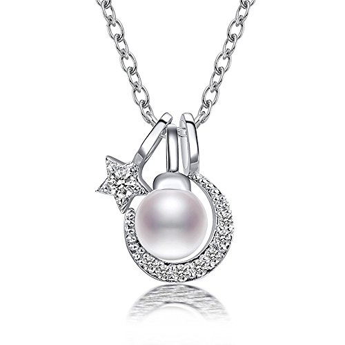 Millechic Star Moon S925 CZ & Freshwater Pearl Pendant Necklace,7 combinations New Year - Black Friday Sale Tiffany
