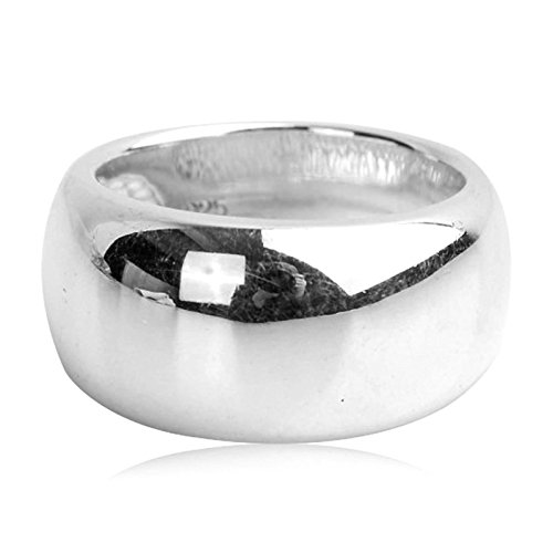 Bishilin Men's Ring Silver Plated Smooth Round Width 25MM Partner Rings Silver Size 12.5 by Bishilin