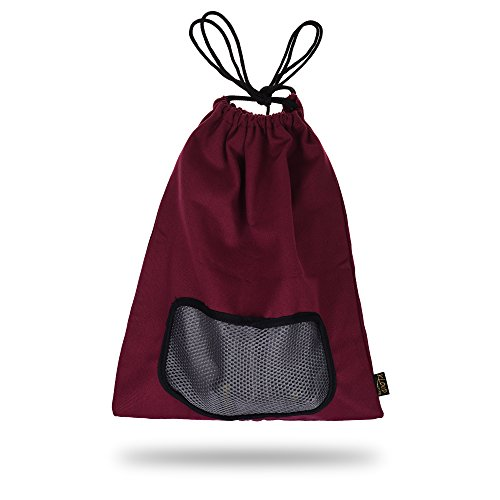 KLOUD City Burgundy Red Canvas Shoe Bag / Clothes case / Ditty Bag with Drawstring for Travel / Carrying