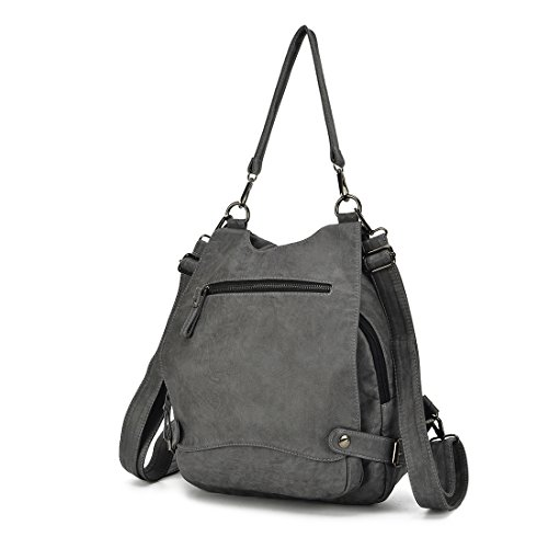 Women Large Convertible Shoulder Purse Grey Ladies Capacity Backpack Leather Washed Artwell Rucksack Bag Security Crossbody dawqt8Rdx