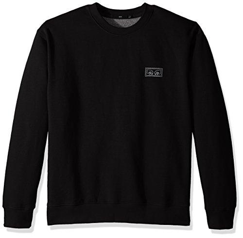 OBEY Men's These Eyes Crew Neck Fleece Sweatshirt, Black, (Fleece Screen Print Sweatshirt)