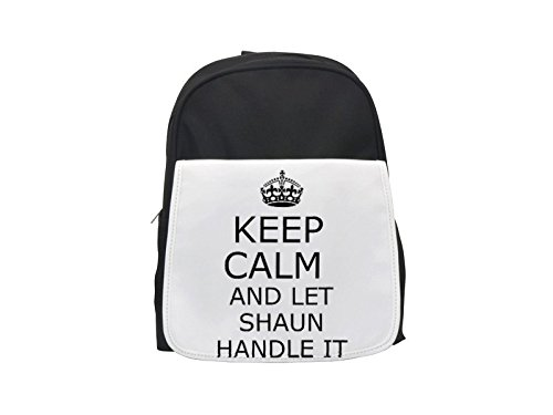 Handle it SHAUN Keep calm printed kid's backpack, Cute backpacks, cute small backpacks, cute black backpack, cool black backpack, fashion backpacks, large fashion backpacks, black fashion backpack