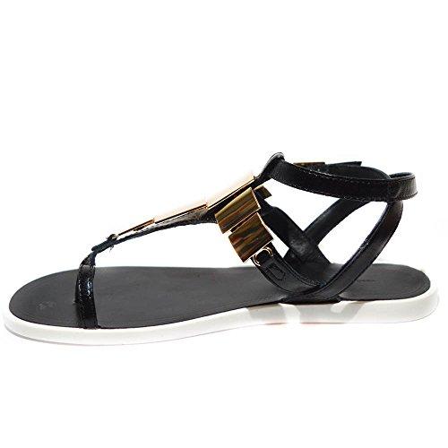 Tosca Blu sandalo infradito basso donna pelle nero con placca oro art.ss1614s904 TG. 38