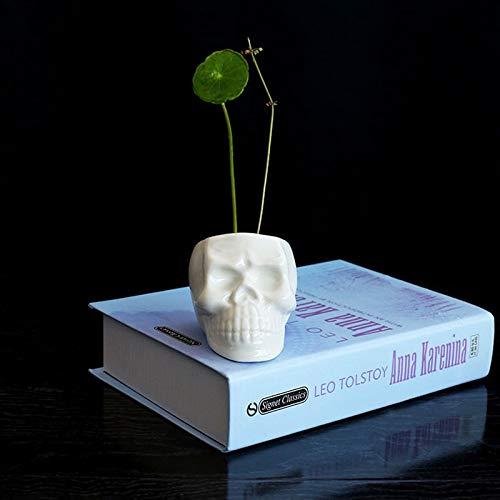 Taka Co White Planter Creative Skull White Ceramic Flower Pots DIY Mini Succulents Desktop Decor Bonsai Pots Porcelain Nursery Planters Pots -
