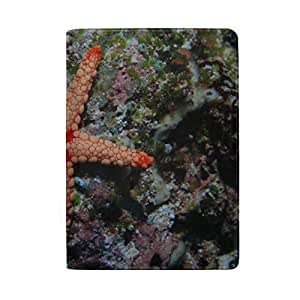 Tropical Beach, Beach Starfish Blocking Print Passport Holder Cover Case Travel Luggage Passport Wallet Card Holder Made with Leather for Men Women Kids Family