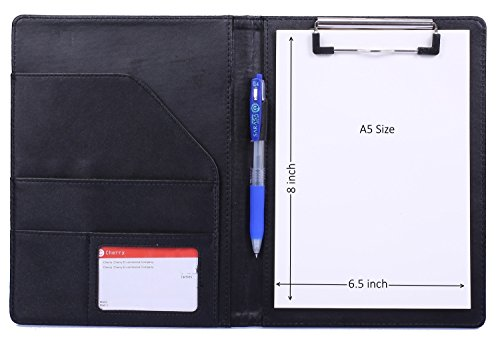 Small Clipboard Junior Padfolio Folio 7 x 9 Writing Pad Refillable, Mymazn Faux Leather folder A5 for Notepad legal pad 5 x 8 Junior Size Portfolio (Black)