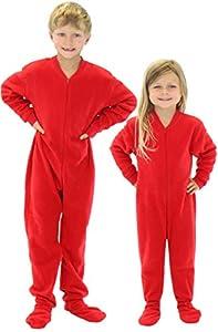 SleepytimePjs Infant & Kids Red Fleece Onesie PJs Footed Pajama