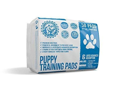 Puppy Pee Pads with Adhesive Sticky Tape - Dog Training Wee Pads (24x24 Large, 50-Count) ()