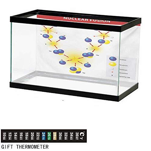 wwwhsl Aquarium Background,Educational,Nuclear Fusion Proton Neutron Chain Hydrogen Cosmic Energy Molecule Atom,Blue Red Yellow Fish Tank Backdrop 24