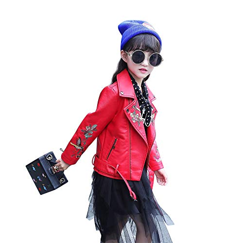 The Twins Dream Girls Leather Jacket Kids Leather Jackets Boys Motorcycle Jacket Girls Coat Red]()