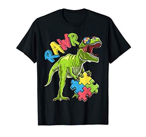 (Rawr T Rex Dinosaur Autism Awareness Puzzle Piece Shirt)
