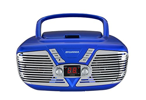 Sylvania Portable CD Boombox with AM/FM Radio, Retro Style, (Blue)