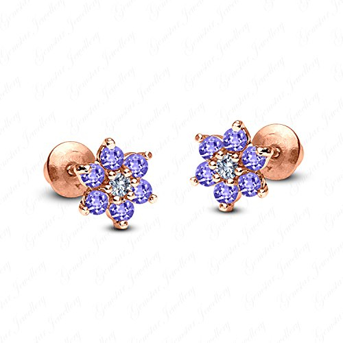 Gemstar Jewellery Round Tanzanite 14k Rose Gold Finish 925 Silver Screw Back Flower Stud Earrings (Flowers Earrings Tanzanite)