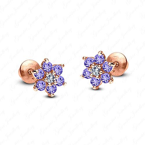 - Gemstar Jewellery Round Tanzanite 14k Rose Gold Finish 925 Silver Screw Back Flower Stud Earrings