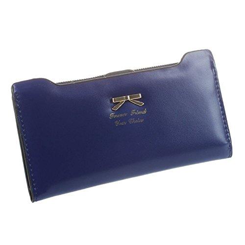 TOOGOO(R) Fashion weiche lederne Frauenmappen Schleife Handtasche lange PU-Karten-Geldbeutel, Mappe fuer Frauen - Koenigsblau