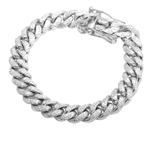 Miami Link Iced Out CZ Bracelet Mens Cuban Link Bracelet 6mm 9 Inch Silver by Midwest Jewellery