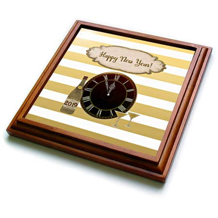 Striped Wood Clock (3dRose Beverly Turner New Years Design - Image of Gold Striped Clock, Glasses, 2019 on Bottle, Happy New Year - 8x8 Trivet with 6x6 ceramic tile (trv_300599_1))