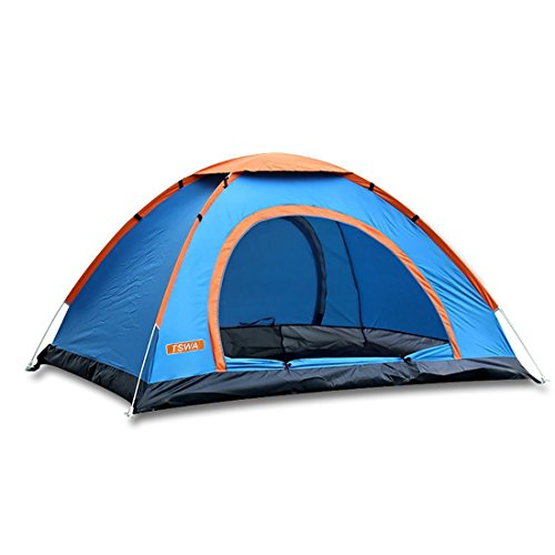 Pop Up Camping Tent by TSWA - Automatic & Instant Setup Dome Waterproof Tents for Backpacking 3-4 Person Portable Pack for Hiking Shelters (Blue)
