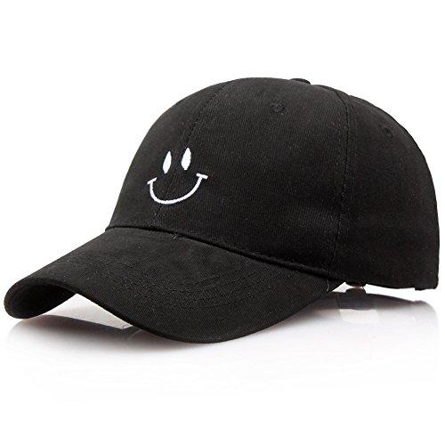 (Xuzirui Kpop Wings Baseball Cap Unisex Asjustable Snapback Bangtan Boys Sport Hip Hop Sun Hats (Black - Smile))