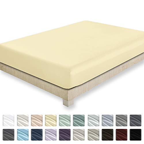 California Design Den 400 Thread Count 100% Cotton 1 Fitted Sheet Only, Vanilla Yellow Twin Fitted Sheet, Long - Staple Combed Pure Natural Cotton Sheet, Soft & Silky Sateen Weave