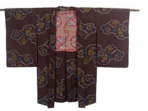 不倫狂乱布アンティーク 羽織 銘仙 正絹 雲文に笹や梅 裄62cm 身丈93cm