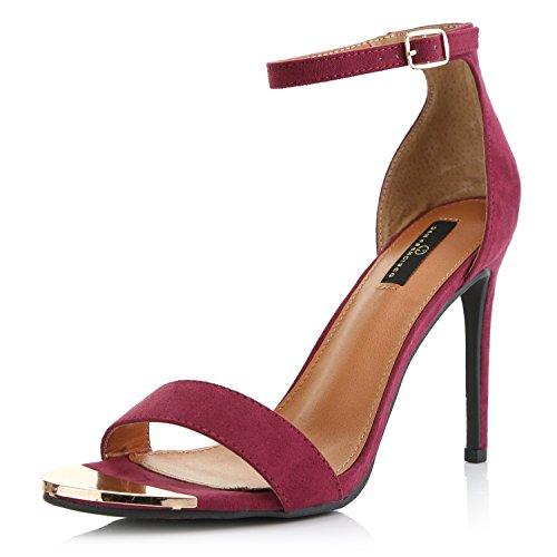 - DailyShoes Women's Stilettos Sandal Open Toe Ankle Buckle Strap Platform Evening Party Dress Casual Shoes, Wine Suede, 11 B(M) US