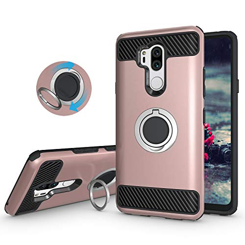 Price comparison product image LG G7 ThinQ Case,LG G7 Case,Setber Armor Dual Layer 2 in 1 Heavy Duty Protection Metallic Finger Ring Holder Kickstand Fit Magnetic Car Mount LG G7 ThinQ -Rose Gold