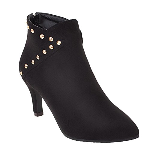 Booties Rivets Black Latasa Toe Pointed Dress Women's 0Xxqq5YS