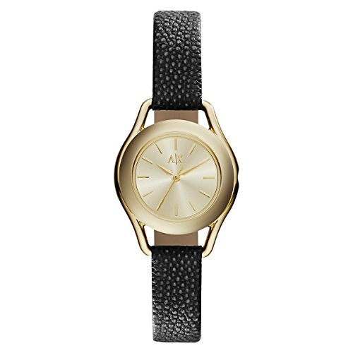 Armani Exchange AX4259 Women's Gold Tone Dial Black Leather Strap Watch