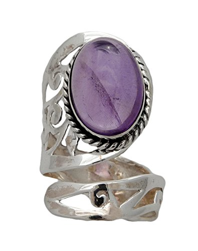 Adjustable Healing Crystal Stone Cab RING Sterling Silver (Amethyst) Sterling Silver Healing Crystal