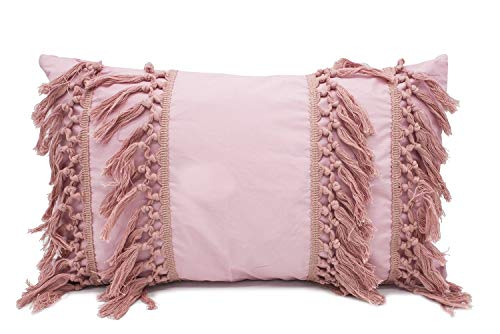 Fennco Styles Stylish Fringe Tassels Decorative Cotton Throw Pillow (Pink, 12