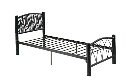 New Twin Size Black Metal Finish Headboard with Zebra Print Headboard! by The Furniture Cove
