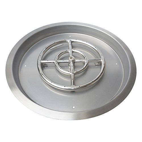 Stanbroil Stainless Steel Round Drop-In Fire Pit Burner Ring Pan, - Pit Fire Trough