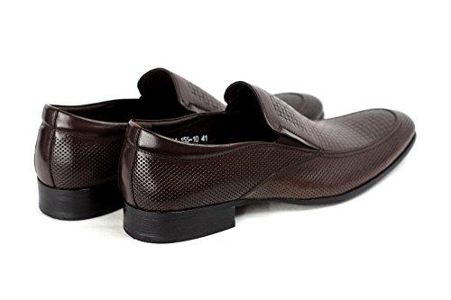 Hombres Zapatos de piel SIN CIERRES Inteligente Vestido Boda Oficina Formal Casual Mocasines Café