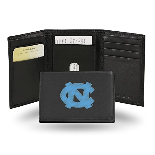 Rico Industries NCAA North Carolina Tar Heels Embroidered Leather Trifold Wallet