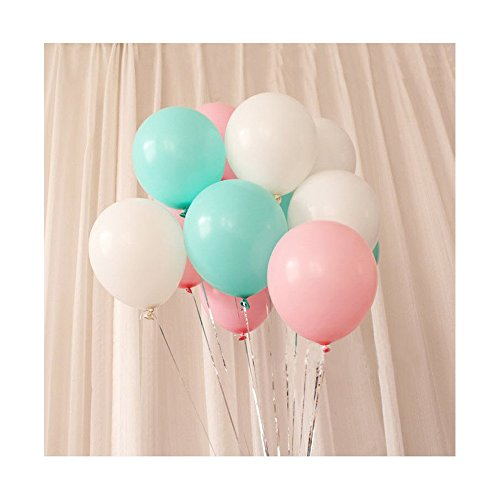11 Inch White,Soft Pink,Turquoise Latex Balloons,100 Count For Wedding Birthday Party Baby Shower Decoration
