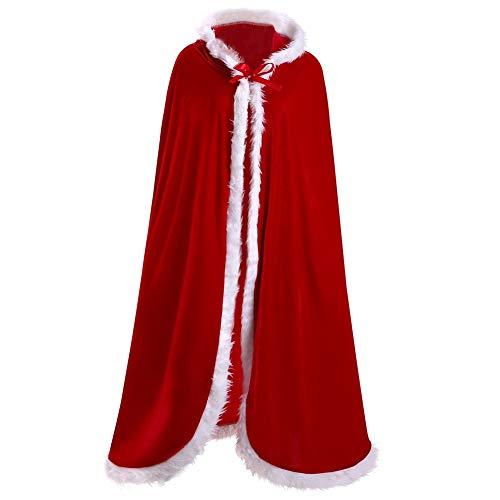Ladyker Women's Christmas Santa Claus Cloak Deluxe Velvet Hooded Cape for Adult Cosplay Costume 39.4