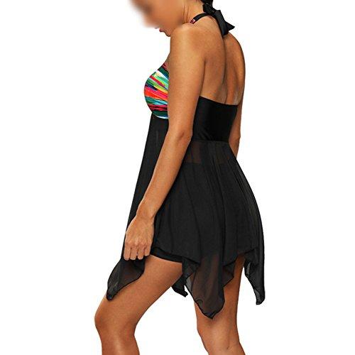 Scothen Mujer retro de la franja de baño fajas de cintura alta cabestro traje de baño bikini traje correa establece el tamaño grande natación traje de baño empuja hacia arriba determinado Beachwer Black